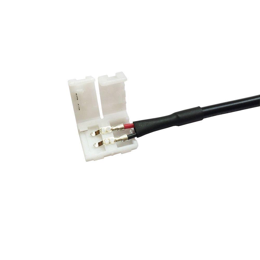 LitaElek Conector de Tira LED de 2 Pin con Toma de CC 5,5mm x 2,1mm Conector Esquina de Cinta LED Divisor LED Strip Cable extensión para 10mm Ancho luz de ...