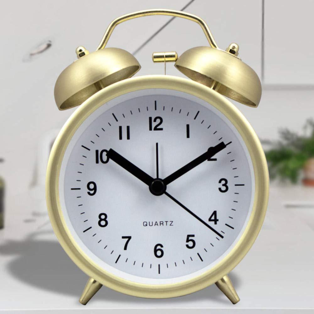 Xiangfei Weckzeiten Schlummerfunktion Kein Ticken Geruschlos Student Schlafzimmer Metall 3 Zoll Glocken Kleiner Wecker@Imitation Gold