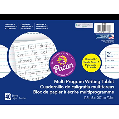 Pacon PAC2480BN Multi-Program Handwriting Tablet, 5/8'' Ruled (Long Way), 10-1/2'' x 8'', 40 Sheets per Tablet, Pack of 12 by Pacon