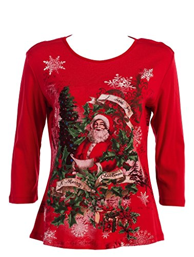 Jess & Jane Santa and Christmas Tree Ladies Shirt