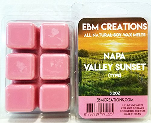 Napa Valley Sunset (Type) - Scented All Natural Soy Wax Melts - 6 Cube Clamshell 3.2oz Highly (Valley Candle Holder)