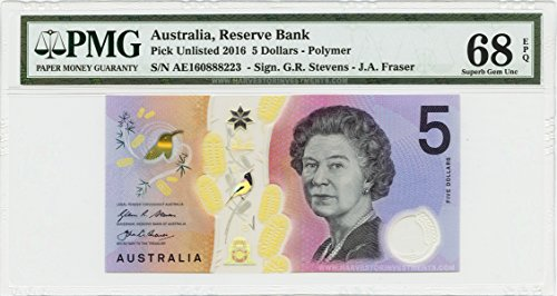 2016 No Mint Mark Australia $5 Banknote Polymer - PMG 68 EPQ - Superb GEM Uncirculated - First New Polymer Issue Since 1988 $5 PMG 68 EPQ