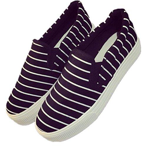 NVXIE Señora Zapatos Un Pedal Ocio Zapatos de Lona Movimiento Cómodo Estudiantes Escuela Corriendo Blanco Negro black