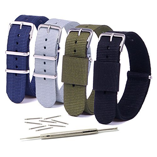 Vetoo+22mm+Watch+Bands%2C+Classic+Nylon+Replacement+Watch+Strap+with+Stainless+Steel+Buckle+for+Men+or+Women%2C+Pack+of+4