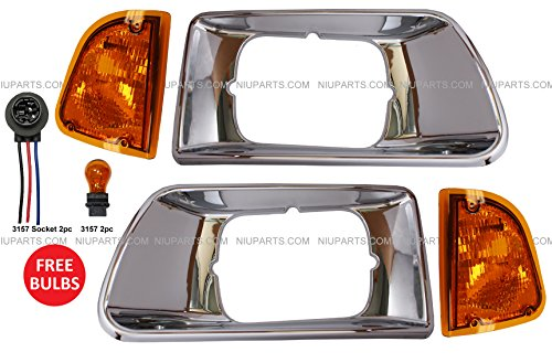4 Pieces Combo- Headlight Bezel Chrome with Turn Signal Corner Lamp - Driver & Passenger Side (Fit: Kenworth T300 T330 Truck)
