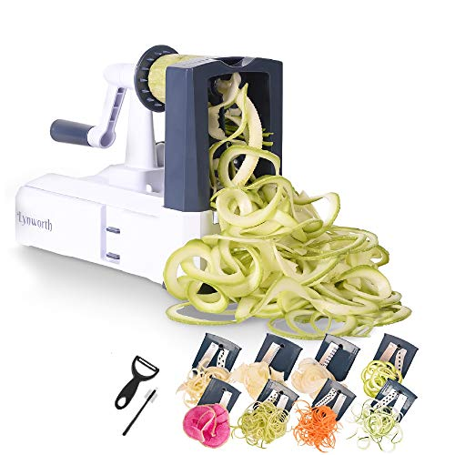 Spiralizer Vegetable slicer Ultimate 8-Blade: Best Spiral Slicer, Strongest and Heaviest Duty Veggie Pasta Spaghetti Maker for Healthy Low Carb, Paleo, Gluten-Free Meals with Bonus 3 Free Gifts