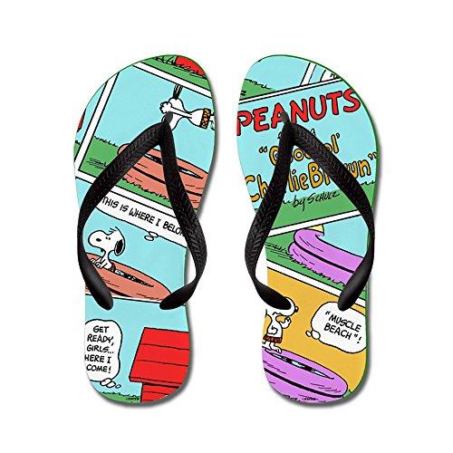 Cafepress Snoopys Summer Fun - Slippers, Grappige Leren Sandalen, Strand Sandalen Zwart
