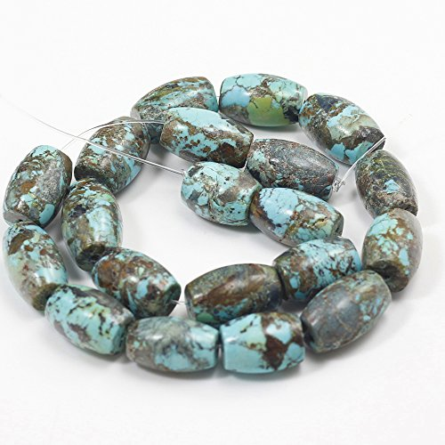 Natural Blue/Brown Turquoise Barrel Beads 15