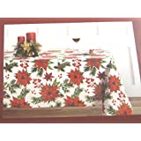 Nicole Miller Home Christmas Poinsettia Tablecloths Assorted Sizes 100% Cotton (60 x 102 Oblong)