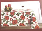 Nicole Miller Home Christmas Poinsettia Tablecloths Assorted Sizes 100% Cotton (60 x 84 Oblong)