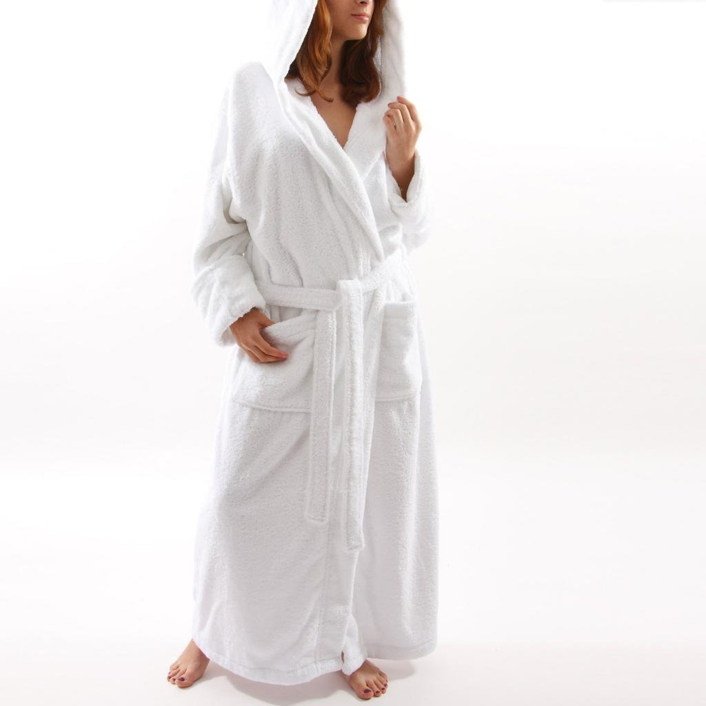 Womens White Hooded Terry Spa Bathrobe - 51 Length 100% Cotton HD12511_womens_white