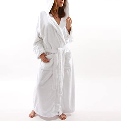 7fa334226c Image Unavailable. Image not available for. Color  Womens White Hooded Terry  Spa Bathrobe ...