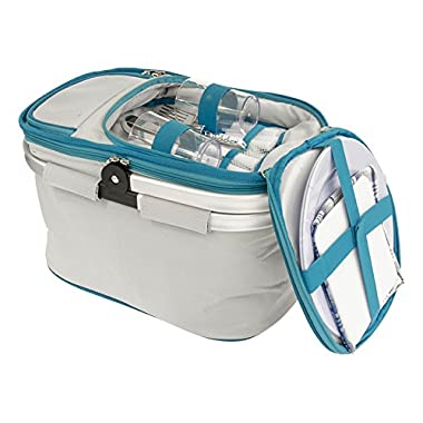 Useful UH-PB174 Collapsible Insulated Picnic Basket set for 2 with Plates, and Cutlery Set