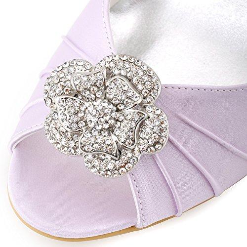 Elegantpark WP1547 Mujer Fiesta Cuña AF01 Desmontable Flores Rhinestone Zapatos Clips Satén Zapatos De Boda Lavanda