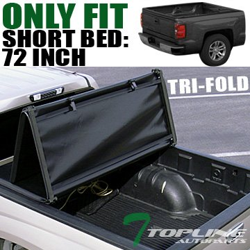 Topline Autopart Tri-Fold Soft Tonneau Cover 83-11 Ranger Pickup Regular/Super Cab 6 Ft Short Bed