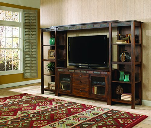 Sunny Designs K3403DC Santa Fe Entertainment Wall with Bridge, Two Piers and TV Console - Santa Fe Entertainment Wall