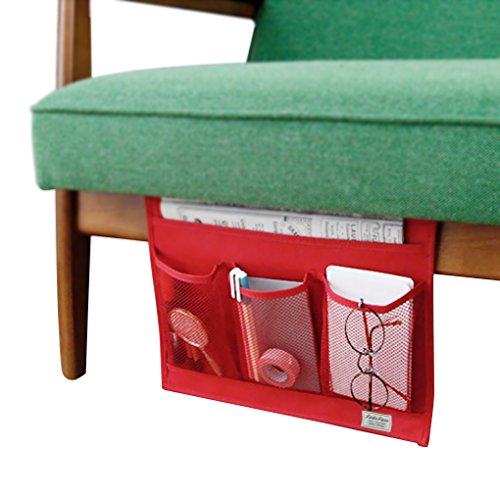 Heavy-Duty Oxford 4 Pocket Bedside Caddy Hanging Table Cabinet Mattress Sofa Couch Armchair Storage Bag Organizer Tray for Book Remote iPad Cell Phone Tablet Magazine Organizer for Dorm Room Bed Desk - Buddy Wood 4 Shelf