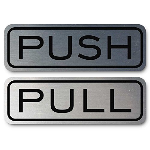Classic Horizontal Push Pull Door Sign (Brushed Silver) - Medium