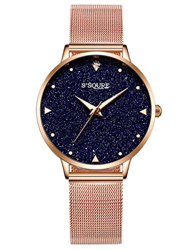 Alienwork S2Squre Damen-Uhr mit Marmor-Zifferblatt Mesh-Armband
