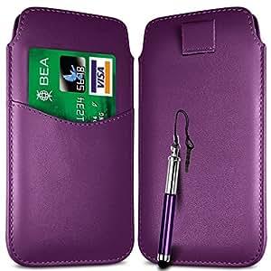 N4U Online - Samsung Galaxy Ranura para tarjeta de fama superior de la PU de cuero Flip Case Tire Tab Bag & retráctil Stylus Pen - púrpura