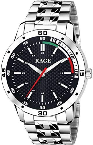Rage Enterprise Stainless Steel Chain Shiny Attractive Boys Silver Stylish Analog Men Watch