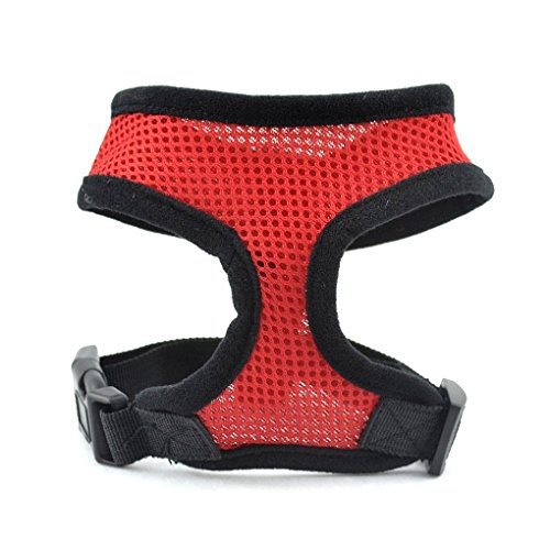 Homily Breathable Mesh Small Dog Pet Safety Harness Easy Control Mesh Vest Leash Chest Straps Belt (L, Red)