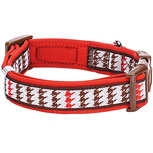 Blueberry-Pet-2-Colors-Soft-Comfy-Artistic-Houndstooth-Check-Padded-Dog-Collar-Trendy-Red-and-Brown-Small-Neck-12-16-Adjustable-Collars-for-Dogs