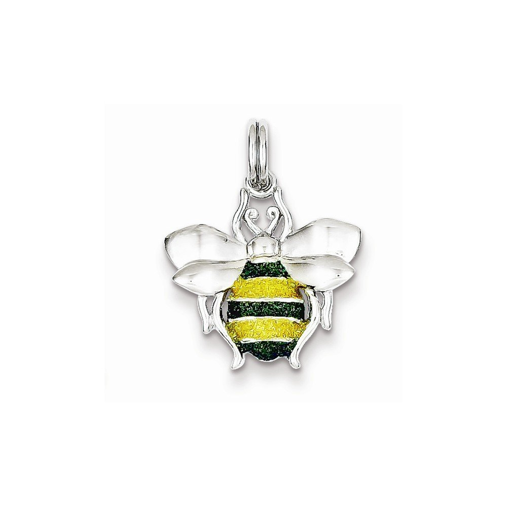Mireval Sterling Silver Green and Yellow Enamel Bee Charm on a Sterling Silver Chain Necklace 16-20