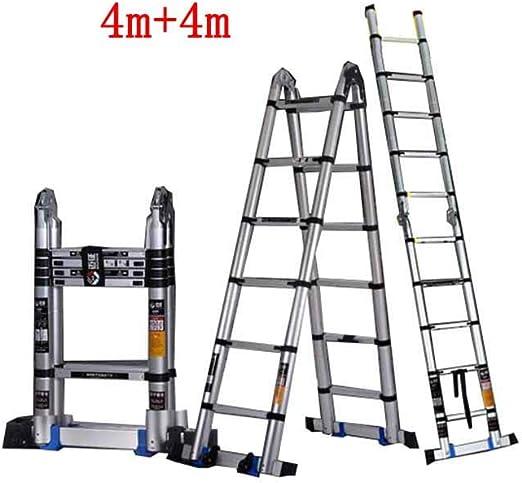 ZPWSNH Escalera telescópica multifunción doméstica Plegable Espina portátil Escalera Doble Recta ingeniería de aleación de Aluminio Grueso Taburete (Size : 4m+4m): Amazon.es: Hogar