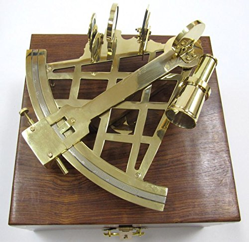 Solid Brass Sextant with Wooden Case
