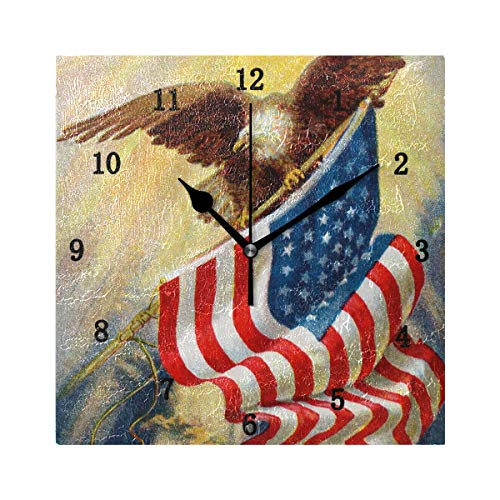 Retro Vintage Clock American - ZZKKO Vintage Retro American Flag Eagle Wall Clock, Silent Non Ticking Battery Operated Easy to Read Decorative Wall Clock Kitchen Bedroom Bathroom Living Room Classroom
