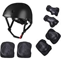 KAMUGO Kids Adjustable Helmet Suitable for Ages 3-8 Years Toddler Boys Girls, Sports Protective Gear Set Knee Elbow Wrist Pads for Bike Bicycle Skateboard Scooter Rollerblading