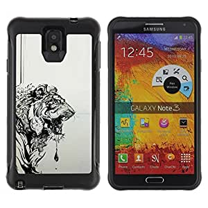 LASTONE PHONE CASE / Suave Silicona Caso Carcasa de Caucho Funda para Samsung Note 3 / tiger grey black drawing painting art