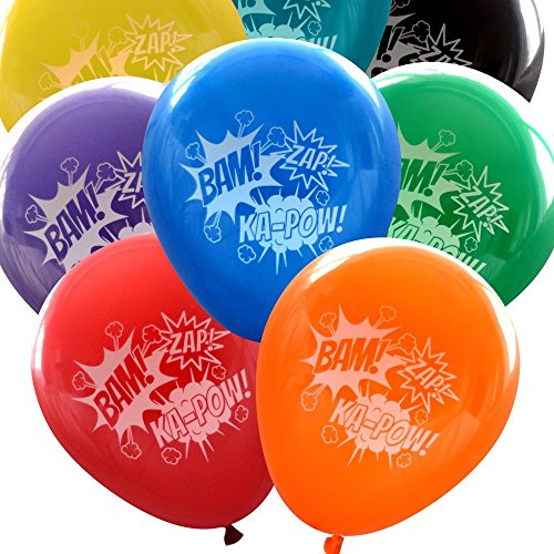 Superheroes Ideas Decorations (Super Hero Balloons (16 pcs) Bam Zap Ka-Pow Sound Effects by Nerdy Words (Assorted)