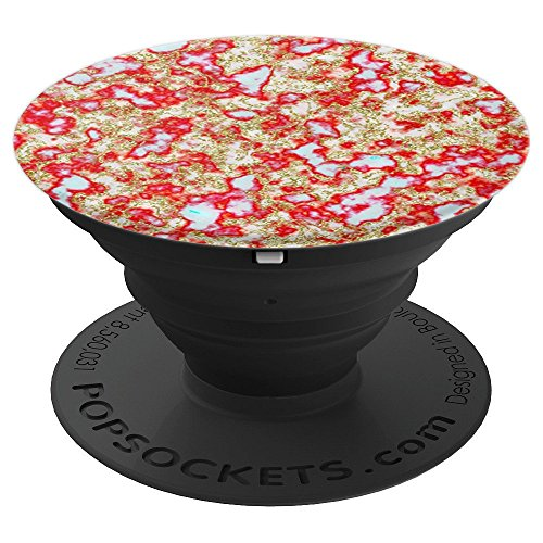 White Cherry Red Marble Cracked Web Marble - PopSockets Grip and Stand for Phones and Tablets