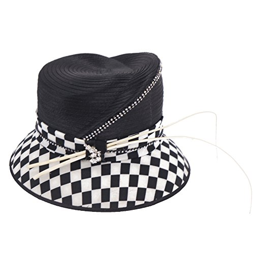 June's Young Women Hat Ladies' Winter Wide Brim Hat Top Hat Black White