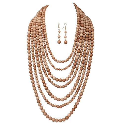 Brown Imitation Pearl (Gypsy Jewels 7 Row Long Layered Imitation Pearl Bead Statement Necklace Earrings Set (Brown Tones))