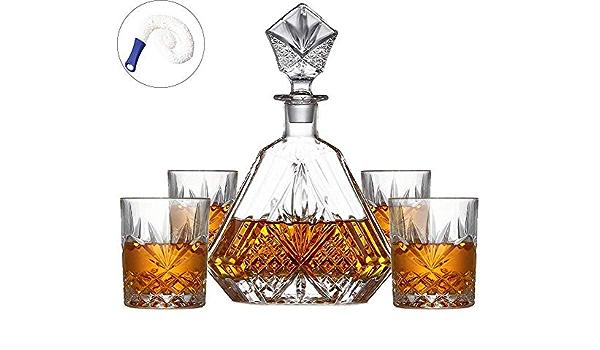 ZLJ Set Decanter Whisky Sin Plomo Decanter de Cristal con 4 ...