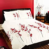 Oriental Flower - Easy Care Duvet Cover Set - King, Red