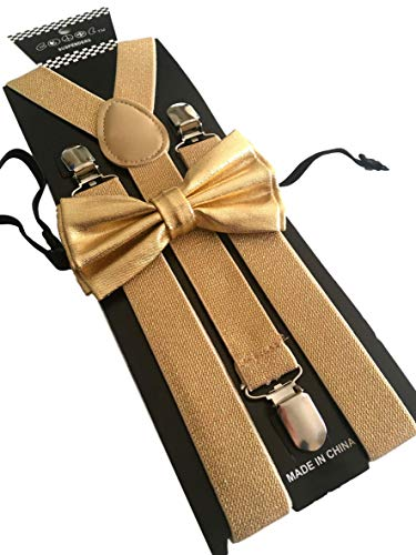 Gold Metallic Mens Bow Tie and Suspenders Set