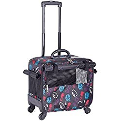 BELLAMORE GIFT Pet Wheels Carrier Rolling Pet Travel Carrier with Flexible Wheels Extendable Handle Fleece Bed Mini Electric Fan