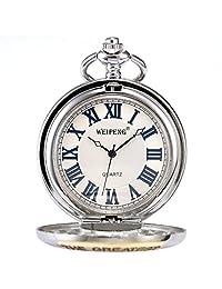 ++CANALOHA:)++ Grandpa Gift Silver Case Retro Montre De Poche Quartz Pocket Watch With Chain