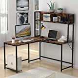 Tribesigns L-Shaped Desk with Hutch,55 Inches Corner Computer Desk Gaming Table Workstation with Storage Shelves Bookshelf for Home Office (Rustic)