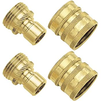 Gilmour 09QCGT 2-Piece Green Thumb Brass Quick Connector Set for Hose (2 Pack)
