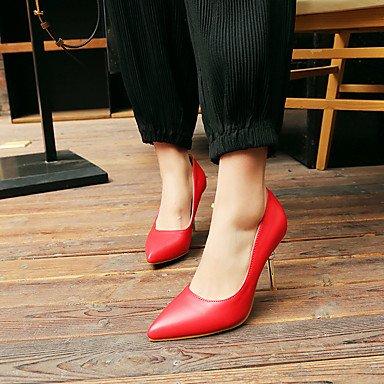 Talones de las mujeres de primavera y verano de cuero Otro vestido de tacón de aguja Otros Negro Azul Rojo Blue