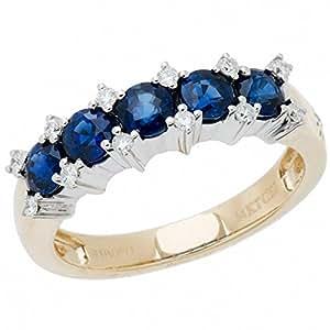 Amoro 14k Yellow Gold Sapphire and Diamond Ring (0.13 cttw)