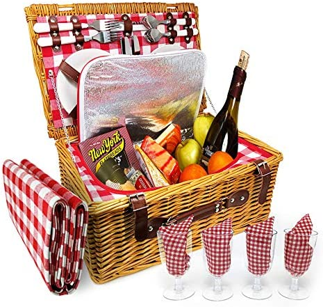 4 Person XL Picnic Basket – Insulated Wicker Hamper – Dishwasher Safe Plates, Wine Glasses, Flatware Set and Napkins 4 Person Blanket, Red White