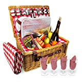4 Person XL Picnic Basket - Insulated Wicker Hamper - Dishwasher Safe Plates, Wine Glasses, Flatware Set and Napkins (4 Person + Blanket, Red & White)