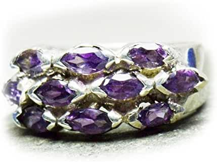 Gemsonclick Genuine Amethyst Marquise Stone 925 Sterling Silver Ring Size 4,5,6,7,8,9,10,11,12