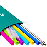 Big Reusable Straws for 30 oz Tumbler Yeti/Rtic - 6 Straight Reusable Silicone Straws for + 2 Stainless Steel Straws + Brushes + Pouch - Metal Straws Included - Silicone Straws Complete Bundle